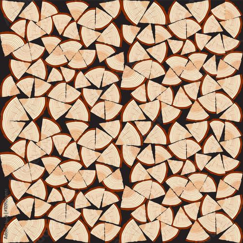 Obraz na płótnie Chopped firewood on a stack. Vector Illustration Background.