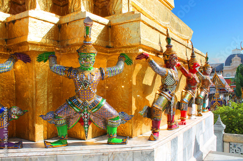 guardians which support golden chedi at royal palace in bangkok thailand Canvas Print