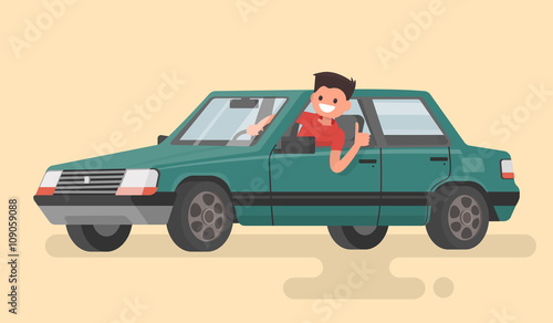 Staande foto Cartoon cars Cheerful driver behind the wheel of a car. Vector illustration