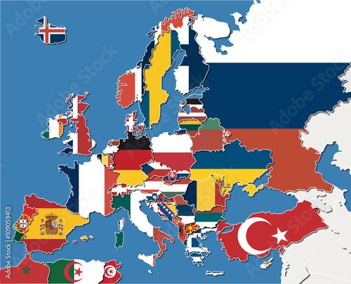 Cartina Europa.Mappa Europa Con Colore Bandiere Stock Illustration Adobe Stock