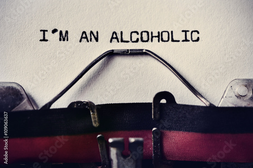 Fotografie, Obraz  typewriter and text I am an alcoholic