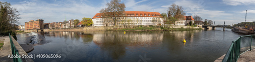 Poster Cracovie hameln and the weser river in germany high defintion panorama