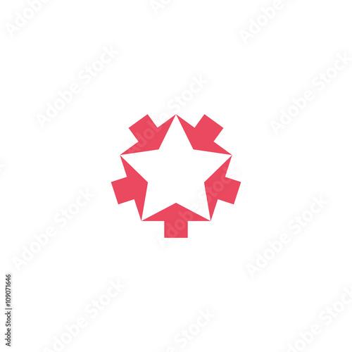 Valokuva  Convergent pink five arrows logo mockup, converge form shape star, creative geom
