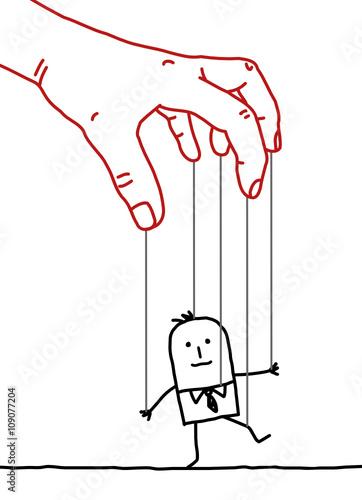Cuadros en Lienzo big hand and cartoon businessman - puppet