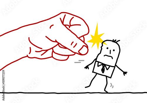 big hand and cartoon businessman - agression Canvas Print