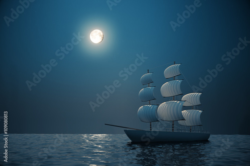Ship at night Wallpaper Mural