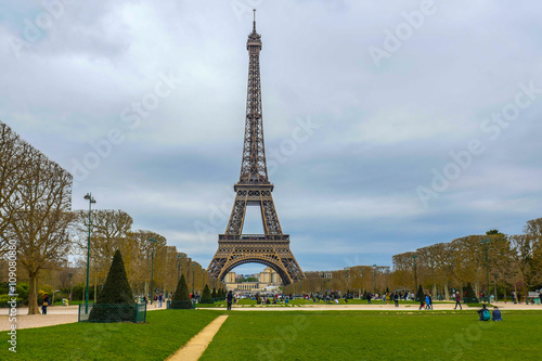 Eiffel Tower on Champ de Mars in Paris France Poster
