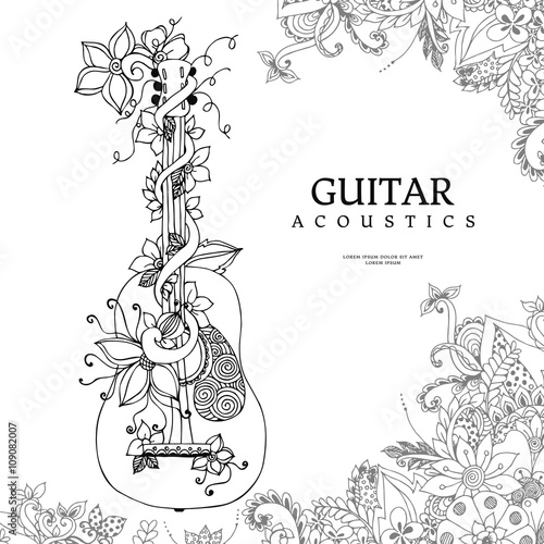 Vector illustration zentangl guitar with flowers in frame of flowers, acoustics, strings, doodle, zenart. Adult coloring books. Black and white.
