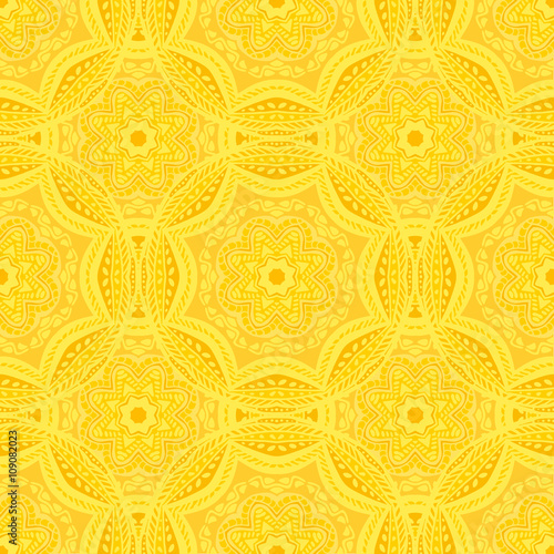 Photo Seamless pattern with beautiful Mandalas in trendy yellow colors