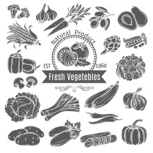 Monochrome Vegetables Icons.