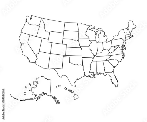 USA map - vector illustration.