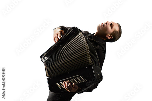 Valokuva  Accordion player. Photo shoot of classical musician