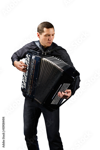 Accordion player. Photo shoot of classical musician Fototapet