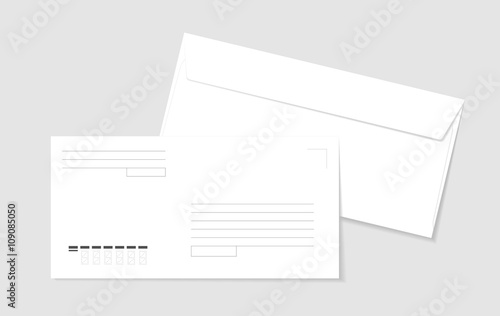 two paper white envelopes with lines for address and form for