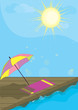 Vacation summer card. Beach umbrella, sun and sea