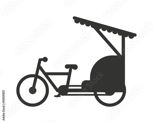 Rickshaw indonesia jakarta taxi travel transportation icon flat vector illustration Slika na platnu