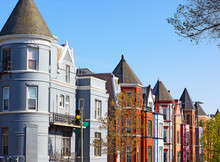 Residential Row Houses In US Capital In Spring. Historic Architecture Of Shaw Neighborhood In Washington DC, USA