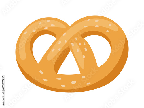 Fototapeta Soft pretzel isolated salty snack fresh german tasty traditional food vector icon