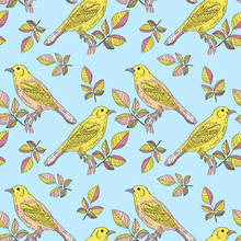 Yellow Bird On A Blue Background Vector Seamless Pattern
