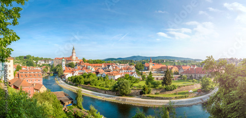 Panoramic view over the old Town of Cesky Krumlov, Czech Republi Canvas Print