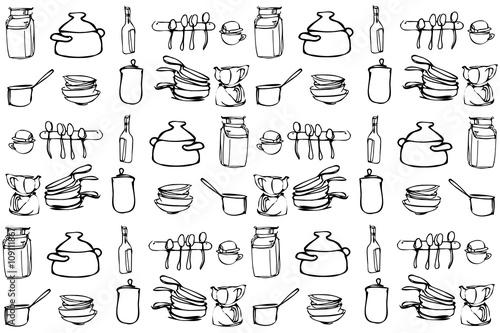 Vector Sketch Of Kitchen Utensils In The Range Of Wallpaper Buy