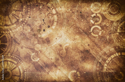 Fototapeta  Steampunk grunge background, steam punk elements on dirty back