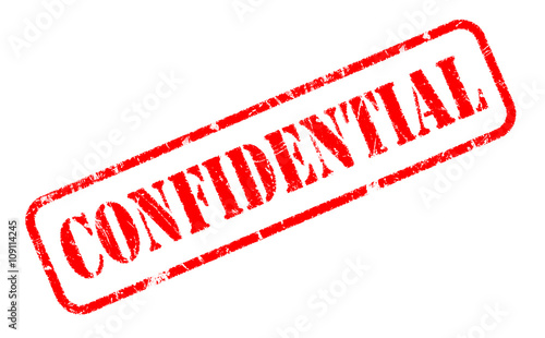 CONFIDENTIAL Rubber Stamp Text On White Background