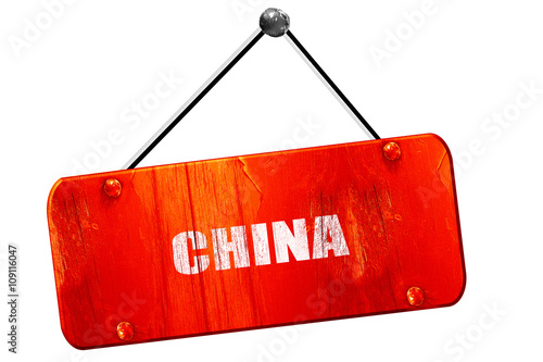Foto  Greetings from china, 3D rendering, vintage old red sign