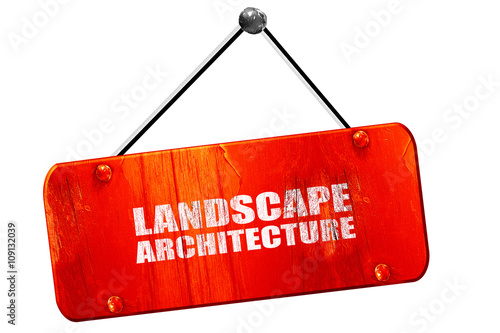 landscape architecture, 3D rendering, vintage old red sign