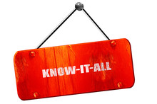 Know-it-all, 3D Rendering, Vintage Old Red Sign