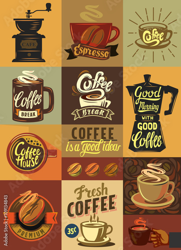 Coffee Set Poster Buy This Stock Vector And Explore