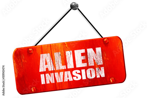Photo  alien invasion, 3D rendering, vintage old red sign