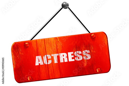 Photo  actress, 3D rendering, vintage old red sign