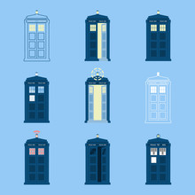 Set Of 9 Police Boxes, British Public Call Telephone