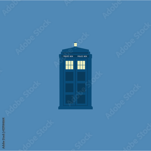 Canvas Print Police box, British public call telephone