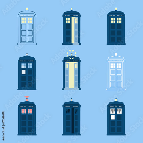 set of 9 Police boxes, British public call telephone Wallpaper Mural