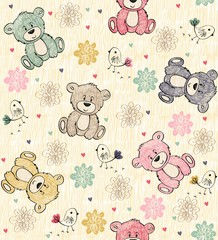 Fototapeta Do gabinetu lekarskiego/szpitala Cute hand draw seamless pattern with cartoon bear