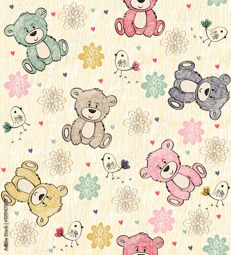 Cute hand draw seamless pattern with cartoon bear Lerretsbilde