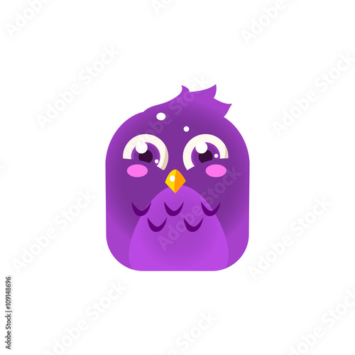 Fotografie, Obraz  Purple Giggling Chick Square Icon