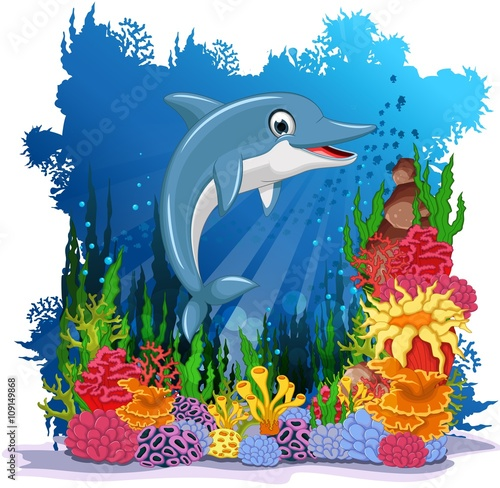 Recess Fitting Submarine dolphin cartoon with corals background