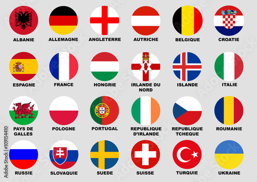 Foot euro 2016 drapeau pays Wallpaper Mural