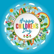 Happy Children's Day. Vector Illustration Of Universal Children Day Poster. Childrens Background