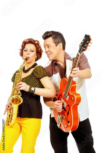 Fotografie, Tablou  guitarist and saxophonist