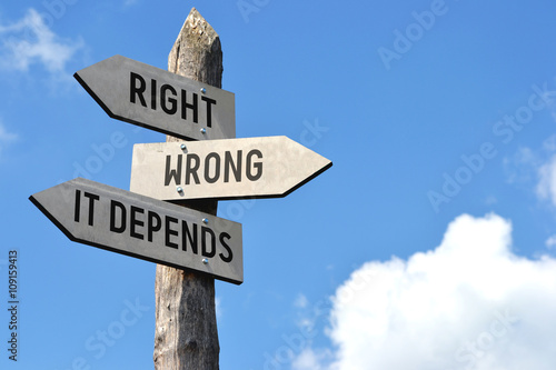 Slika na platnu Right, wrong, it depends signpost