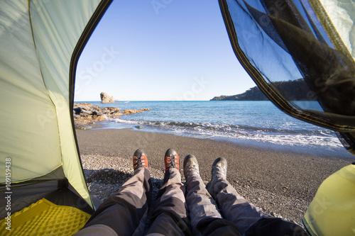 Foto op Canvas Khaki Trekking through the National Park along the coast.