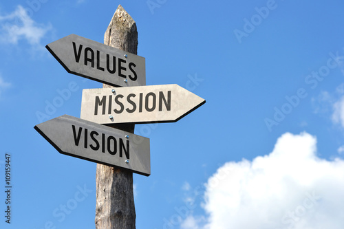 Fotografia, Obraz  Values, mission, vision signpost