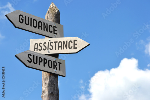 Guidance, assistance, support signpost Fotobehang