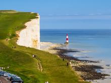 White Chalk Cliffs And Beachy Head Lighthouse
