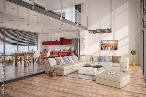 Minimalistisch, Modern Eingerichtetes Loft, Mit Wohnzimmer, Küche Und  Essecke.