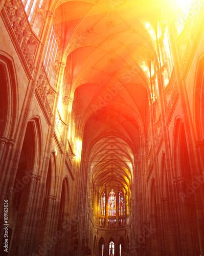 Obraz na plátně Interior of St. Vitus Cathedral, Prague, Czech Republic